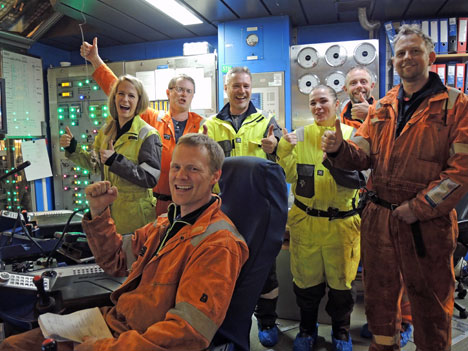 Happiness onboard the Deepsea Atlantic drilling rig