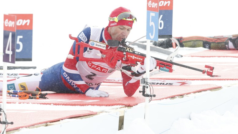 Oslo:World Cup Biathlon in Holmenkollen 2016. Ole Einar Bjorndal 2 shooting Sunday