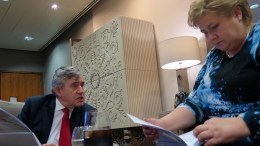 The UN Special Envoy Gordon Brown and Prime Minister Erna Solberg