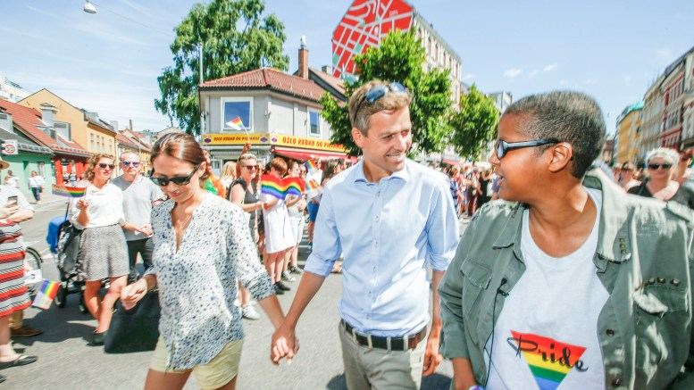 OSLO PRIDE PARADE KrF leader Knut Arild Hareide with his wife Lisa Maria
