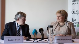 Prime Minister Erna Solberg and former Prime Minister of Britain Gordon Brown.