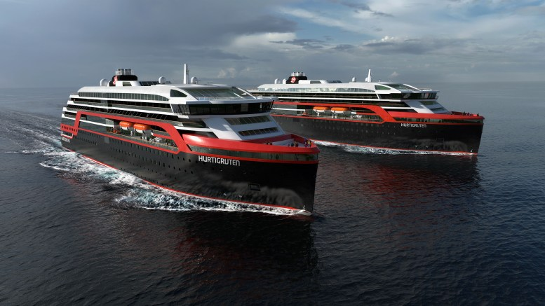 Illustration picture of the new Hurtigrute ships.