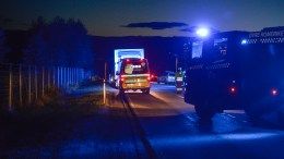 Emergency services at the location where a pedestrian lost his life