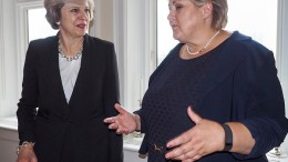 Prime Minister Erna Solberg and Britain's Prime Minister Theresa May.