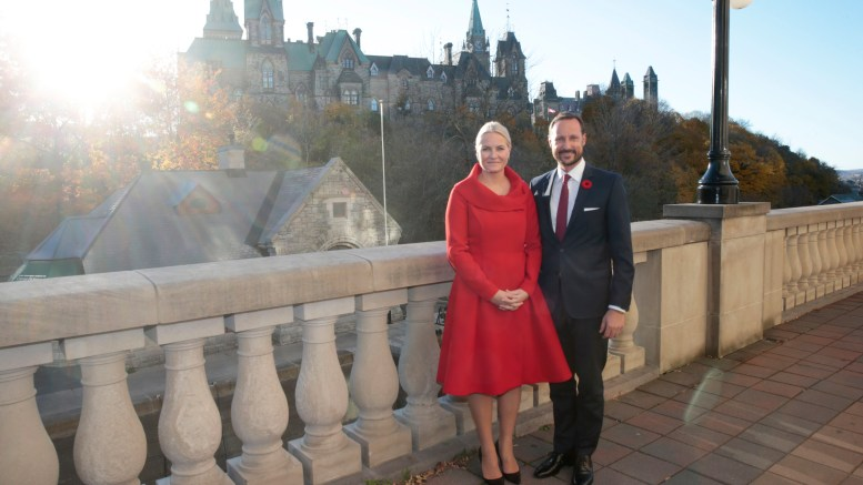 Canada. Crown Princess Mette-Marit and Crown Prince Haakon outside the Fairmont hotel
