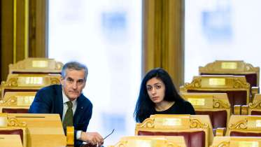 The Labor Party's leader Jonas Gahr Støre and Hadia Tajik
