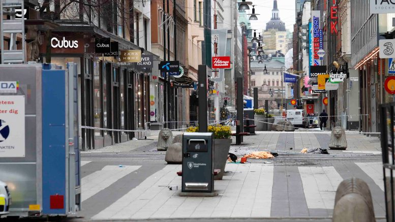 Terrorist attacks in the center of Stockholm.