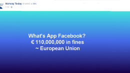 EU gives Facebook NOK 1 billion in fines