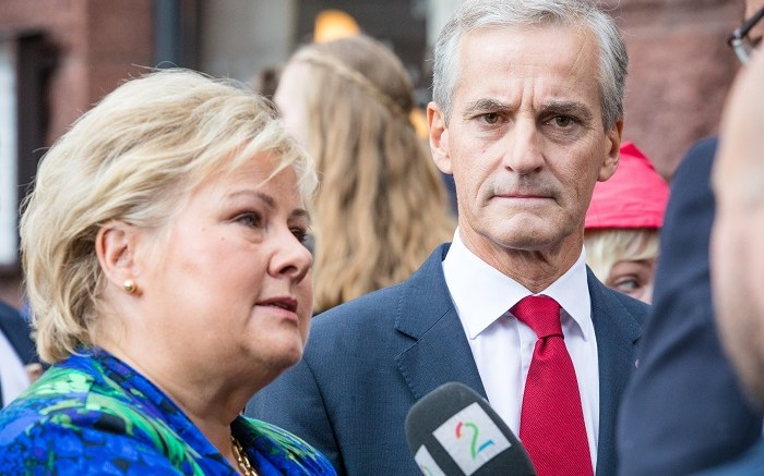 Prime Minister Erna Solberg and leader of the Labor Party, Jonas Gahr Støre.