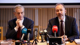 Labour Party Party Leader Jonas Gahr Støre and Finance Political Spokesman Trond Giske