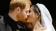 Prince Harry and Meghan Markle kiss