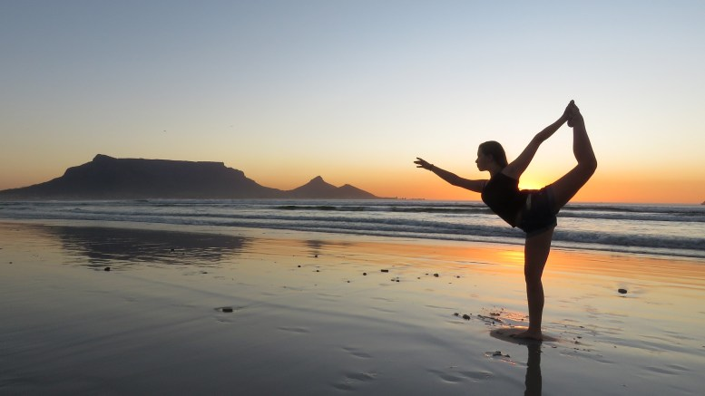 Yoga beach South Africa Holiday Jet lag