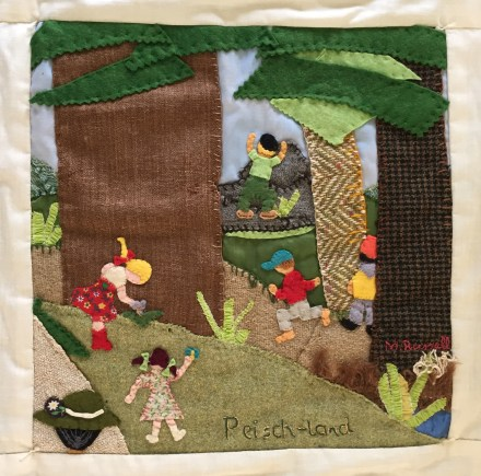Peisch land behind school. Mary Russell, Quilter