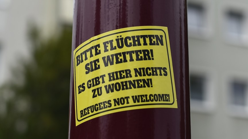 Neo-nazi anti-refugee sticker in Freital