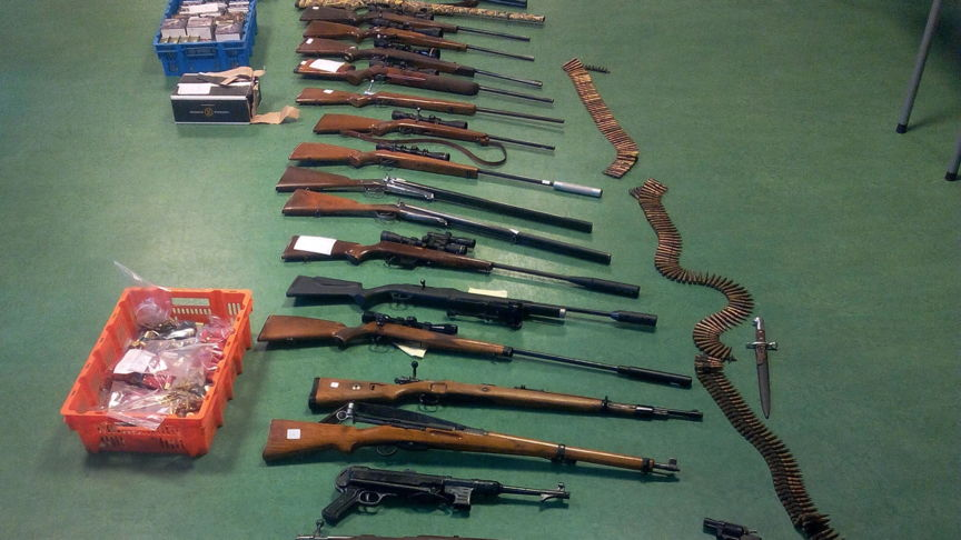 Illegal poaching gang weapons, confiscated in the Veluwe region in the Netherlands