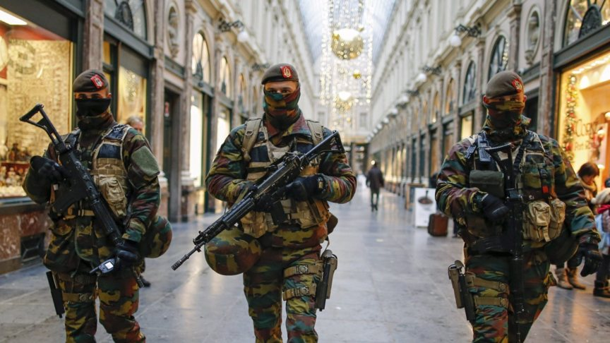 Belgian soldiers in the streets of Brussels, EPA photo