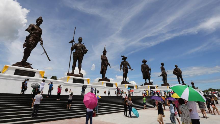 Rajabhakti Park, 200 kilometers southwest of the capital Bangkok in Thailand, with statues of former kings of Thailand