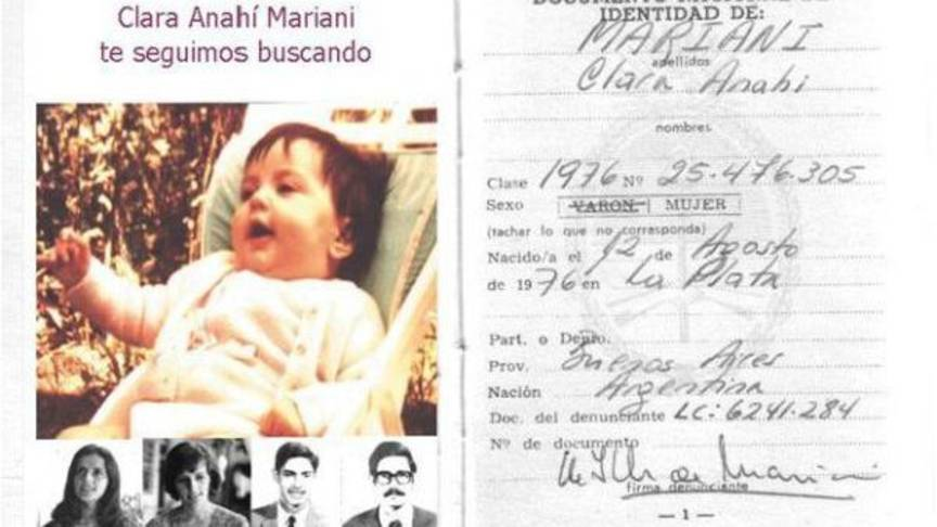 Clara as a baby, photo used to find her again. Photo by Fundacióm Anahi