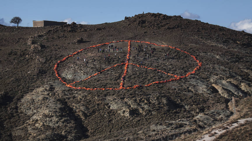 Ai Weiwei's peace sign on Lesbos island, made from refugees' life jackets