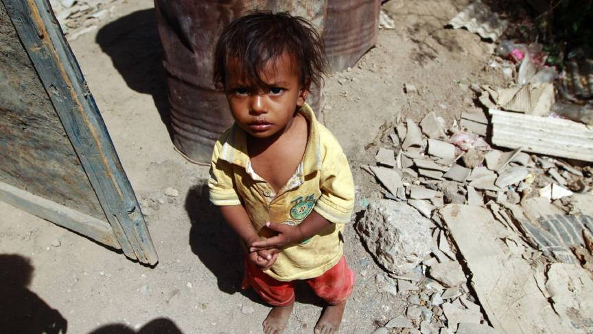 Child at Saudi-bombed home in Sanaa, Yemen
