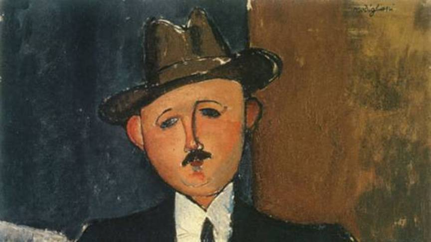 Seated man leaning on a stick, by Amedeo Modigliani