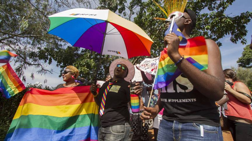 Ugandan Gay Pride marchers in 2015, AFP photo