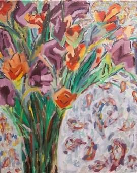 Bouquet of orange and purple irises