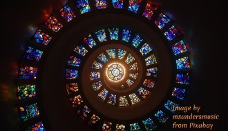 Fibonacci spiral of stained glass