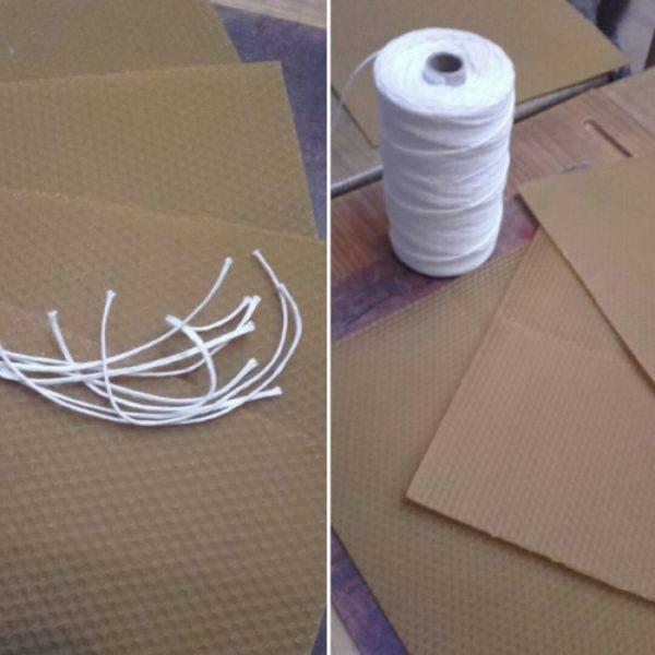 Láminas de cera de abeja y cordón de algodón