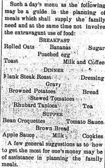 Summer menu, Honeoye Falls Times, July 19, 1917, p 4