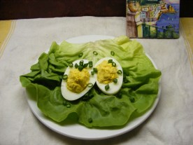 Served on a bed of Boston lettuce, garnished with backyard walking onion