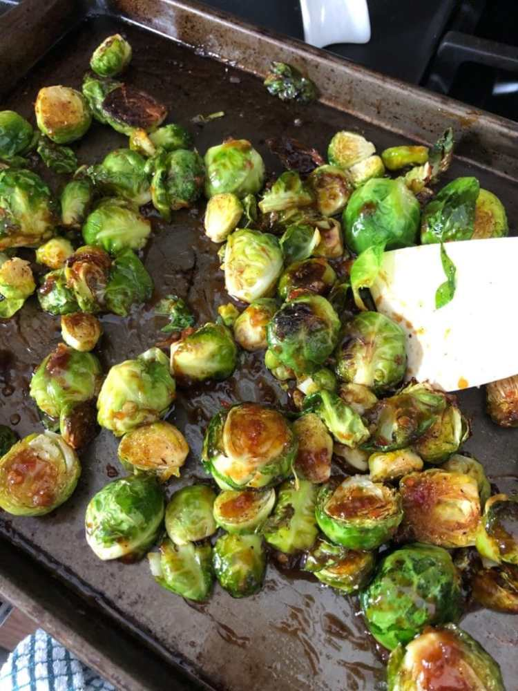 crispy kung pao brussels sprouts just out of the oven