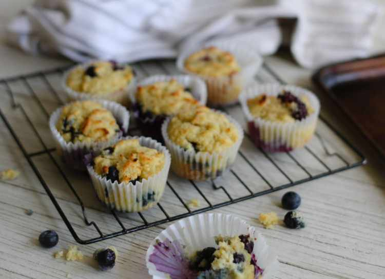 blueberry muffins on a cooling rack