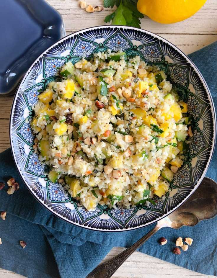 Summer Squash Cauliflower Rice Salad