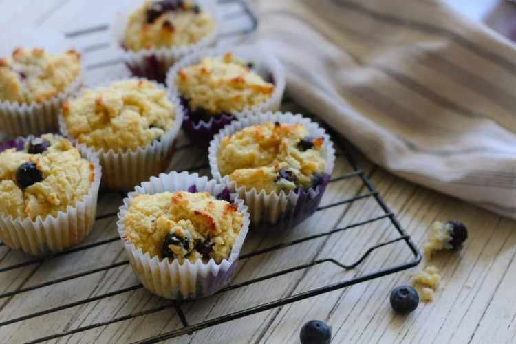 low carb blueberry muffins on a cooling rack