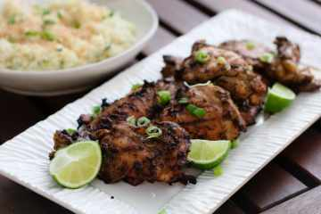 toasted coconut ginger cauliflower rice with grilled jerk chicken