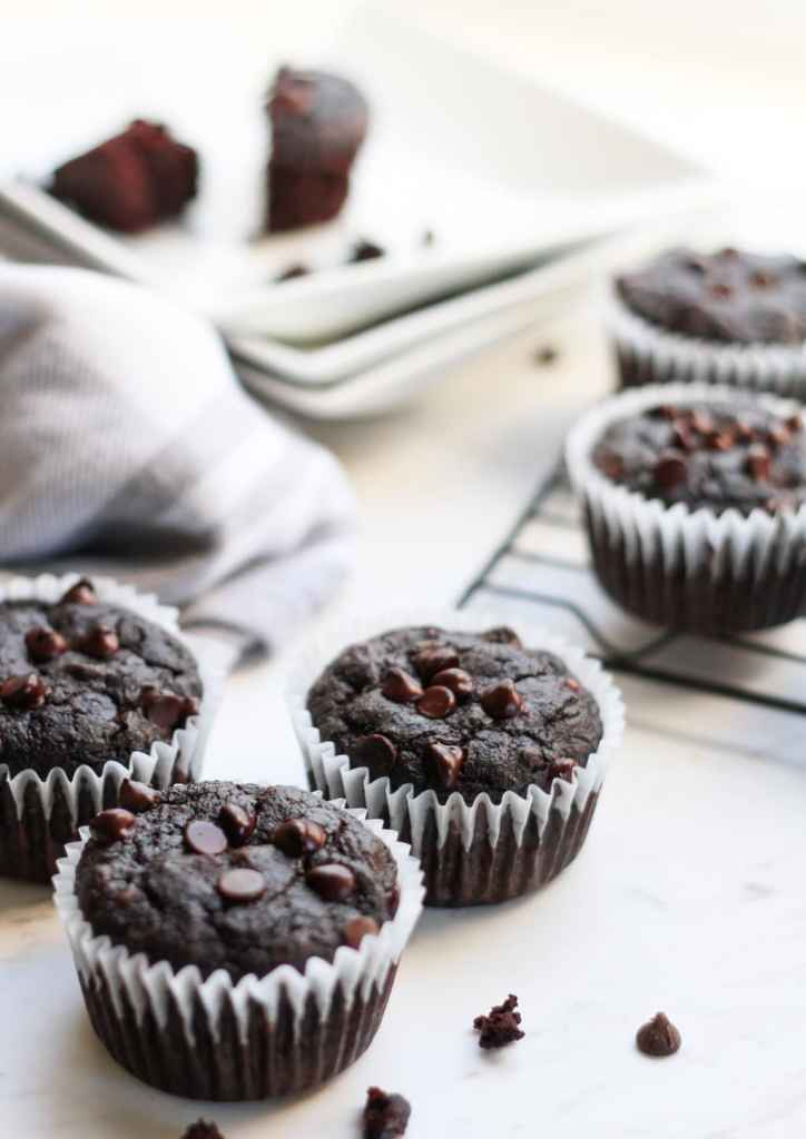chocolate muffins on a cooling rack