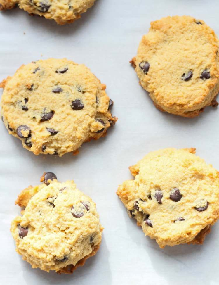 overhead view peanut butter chocolate chip keto cookies