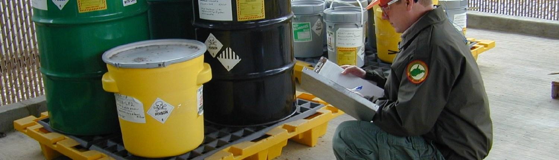 safety officer checking hazardous materials