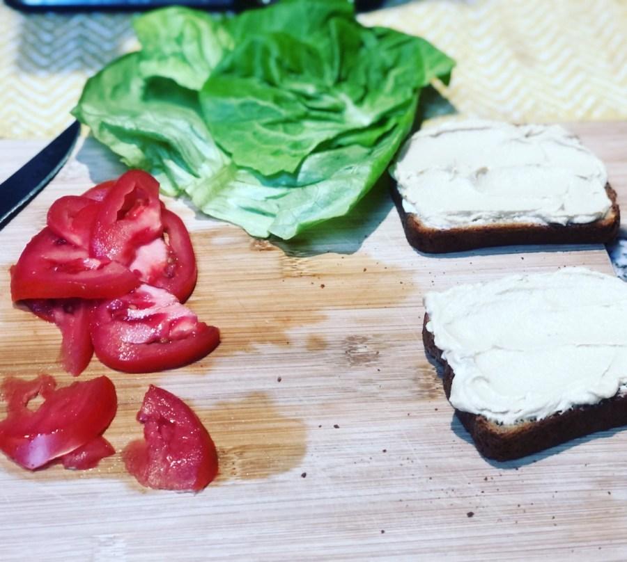 Quickwich! Try this HLT (Hummus, Lettuce, Tomato) sandwich (vegan) (gluten free)