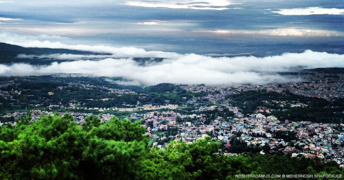 Cloud covered city seen from Shillong Peak