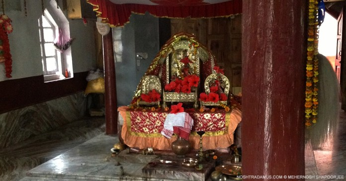 Durga Idol at a 500 year old temple at Nartiang in Meghalaya