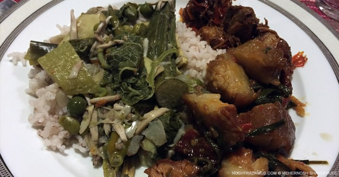 Homemade Khasi pork and boiled ferns with rice