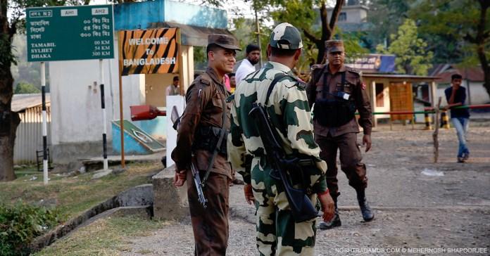 Indian and Bangladeshi border guards, at Dawki in Meghalaya