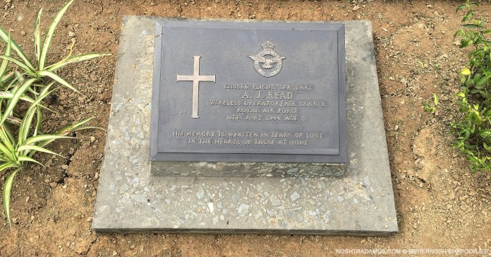 Kohima War Cemetary – Tombstone of Flt Sgt A J Read of the Royal Airforce