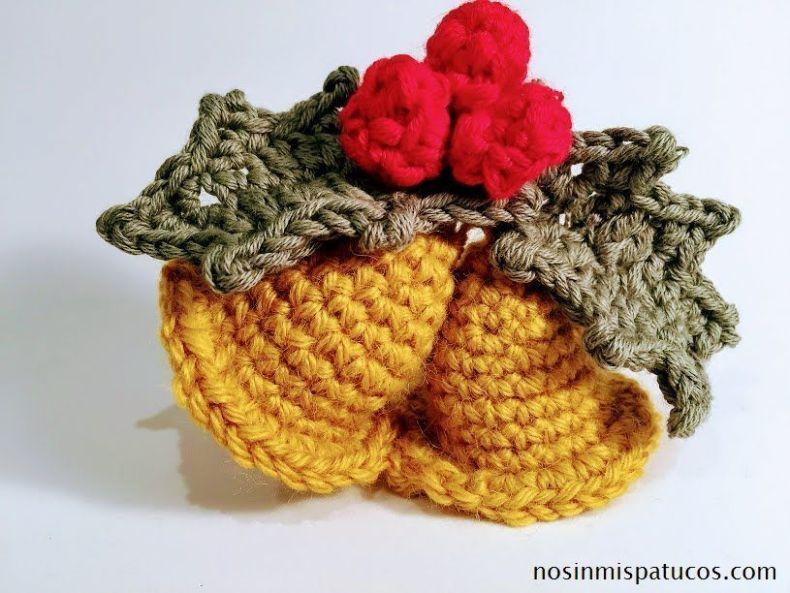 Campanas de navidad tejidas con crochet. - No sin mis patucos