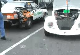 V8 Swap Beetle next to 1959 Cadillac winged Vega