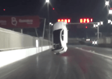 Drag racing Lexus LSF lifts off drag strip