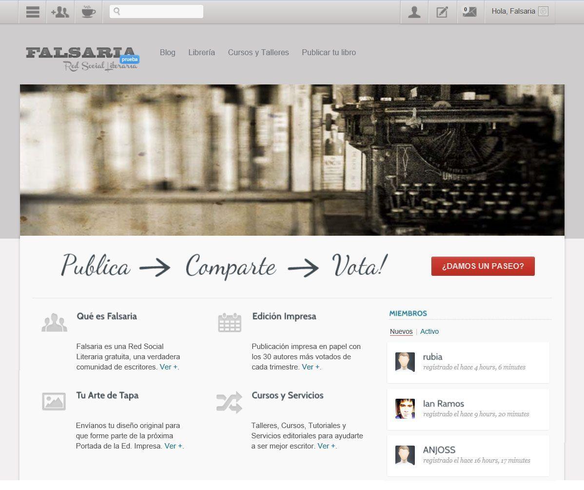 Captura de pantalla de la web 'Falsaria'