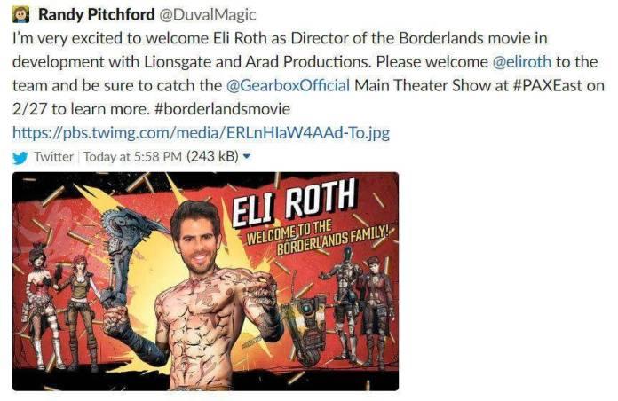 Eli Roth dirigirá la cinta de Borderlands 1